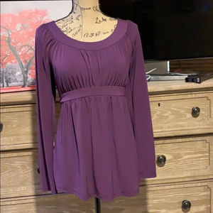 Two hearts maternity Purple tie back shirt